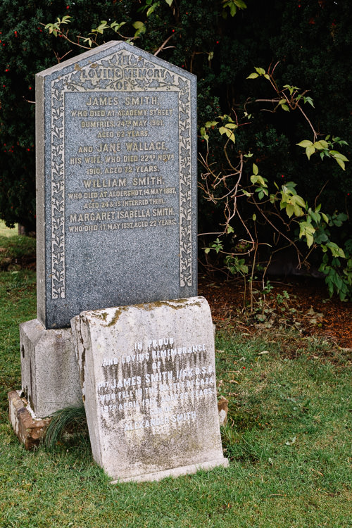 The Smith family tombstone at Dumfries High Cemetery mentioning James Smith killed in the battle of Gaza