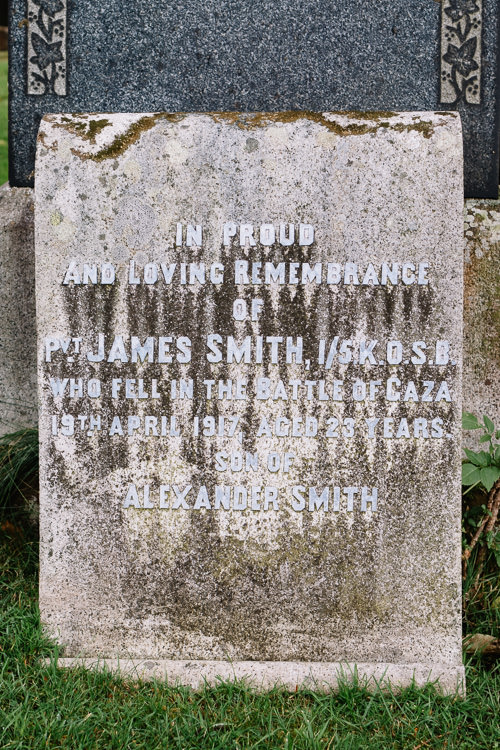 Pvt. James Smith, 1/5K.O.S.B., who fell in the battle of Gaza 19th April 1917, aged 23 years.