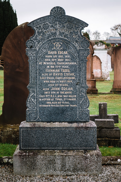 The Edgard family tombstone at Dumfries High Cemetery mentioning John Edgar who was killed in Ypres in 1918
