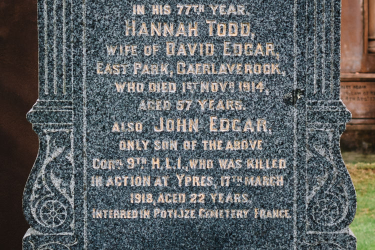 John Edgar, Corl. 9th H.L.I., who was killed in action at Ypres, 17th March 1918, aged 22 years. Interred in Potijze Cemetery
