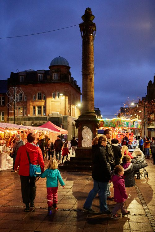 Festive Queensberry Square with the stalls of the first ever Dumfries Makers Market
