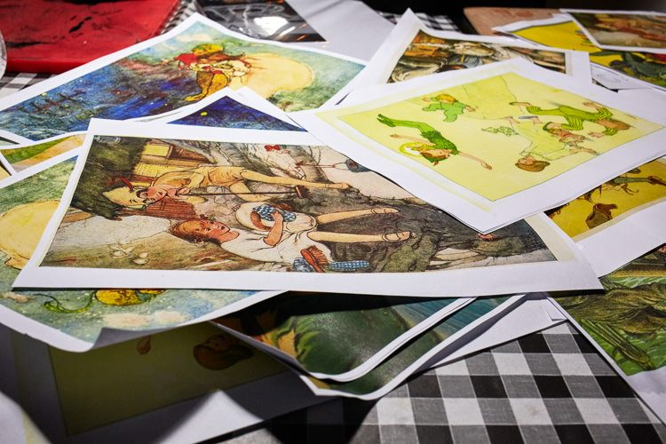 A selection of Peter-Pan themed pictures to draw on as the basis for mono prints