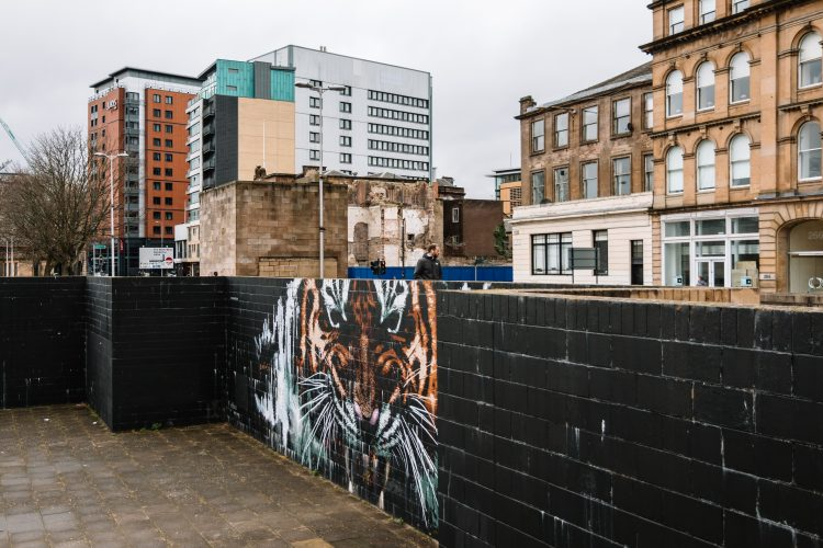 Tiger mural by James Klinge, also known as Klingatron, facing the River Clyde at Customs House Quay