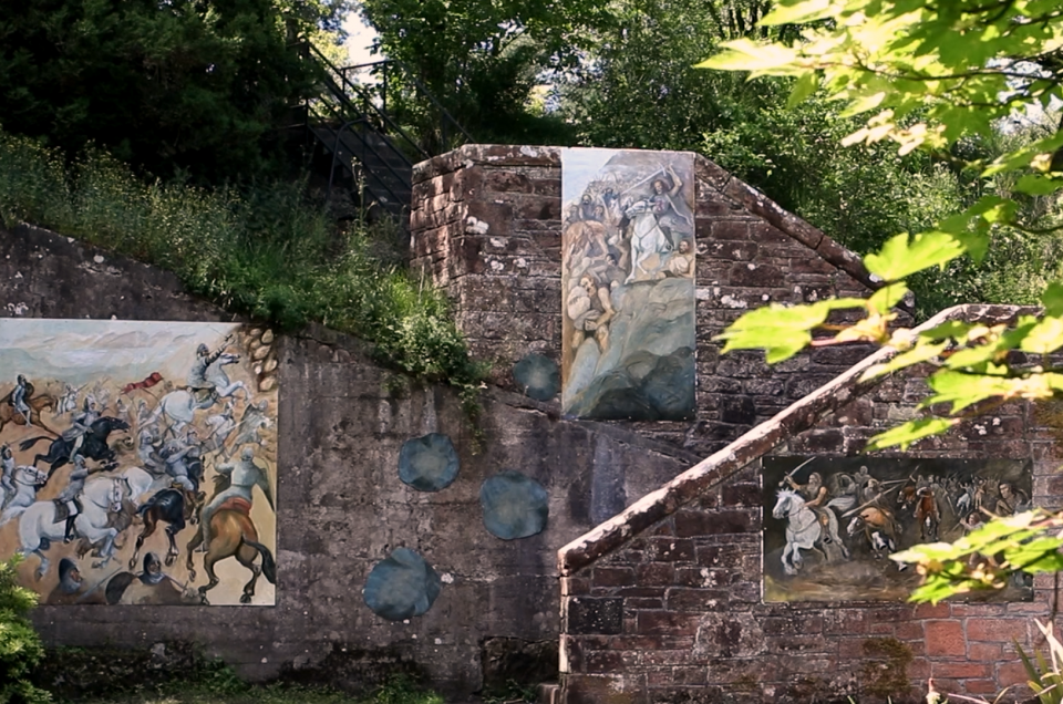 Murals describing Scottish history by Jo McSkimming installed in Sunken Garden at Castledykes Park in Dumfries, Part of the People's Project