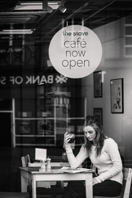 Urban coffee shop portraits through the glass window