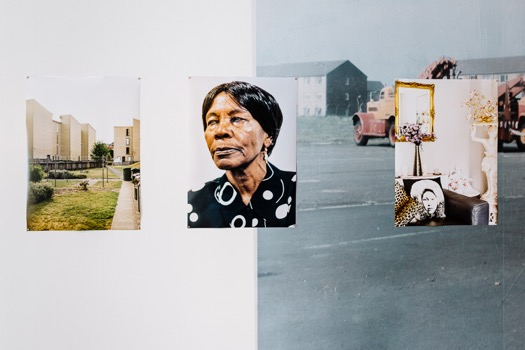 Images from the Gorbals area taken by Doro Zinn during her 2018 Glasgow residency on the walls of Street Level Photoworks gallery