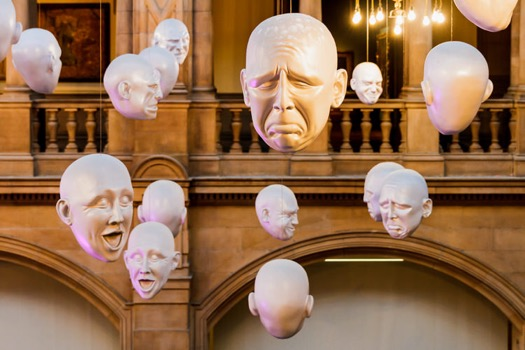 Fragment of Sophie Cave's installation Floating Heads art Kelvingrove Art Gallery and Museum