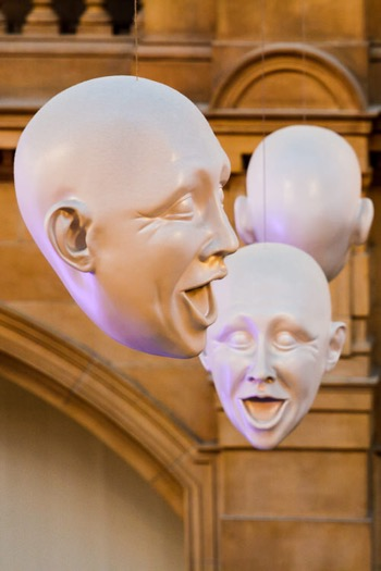 Profile, frontal view and back of Kelvingrove floating heads