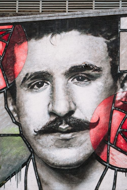 Amazing photorealistic monochrome portrait of Charles Rennie Mackintosh commissioned and donated to the city of Glasgow by Radisson RED