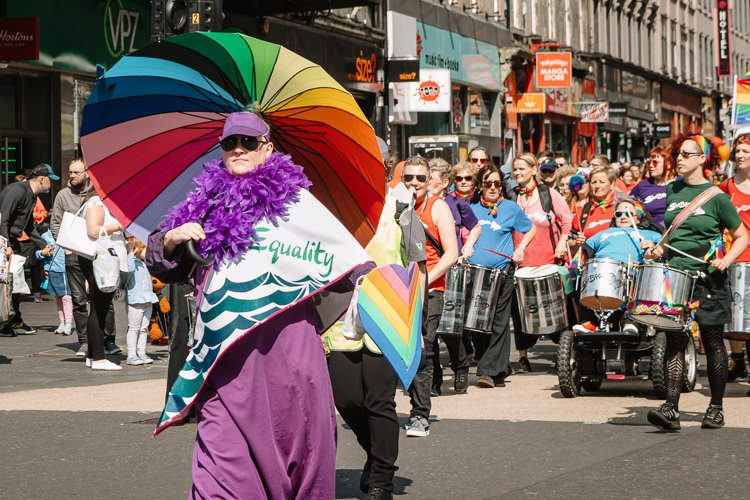 Glasgow Pride parade completes the loop reappearing on Union Street