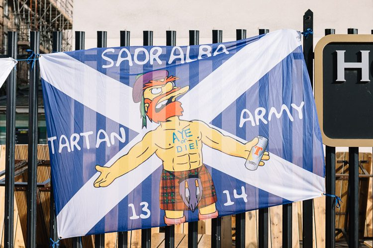 Soar Alba - Aye or Die, one of the Tartan Army flags