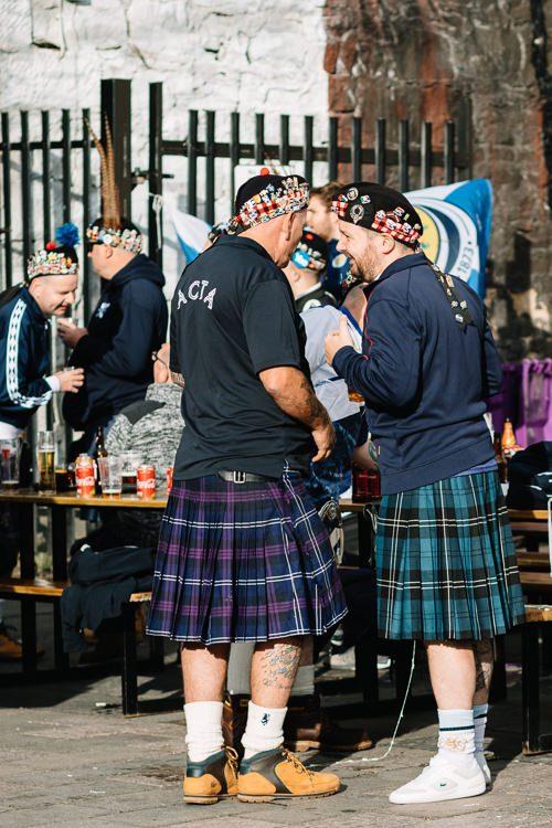 Tartan kilt clad fans outside Hootenanny Beer Garden