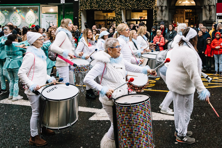 Percussion musicians at Glasgow Xmas Parade on Argyle Street