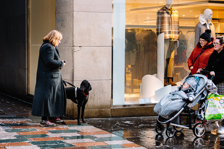 Afters days of gloom dog walkers and baby strollers were out on Glasgow streets to enjoy the sunshine