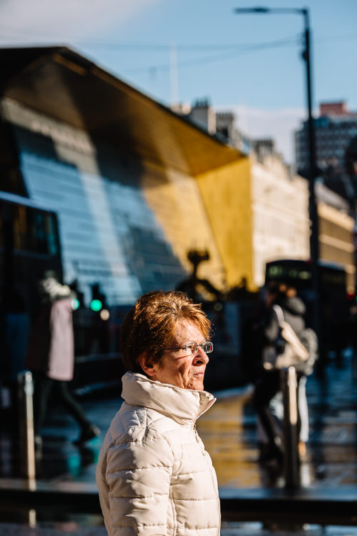 Woman with Queen Street Station behind
