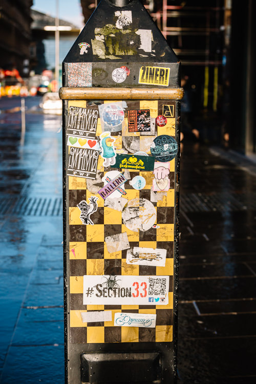 Yellow chequerboard and urban stickers