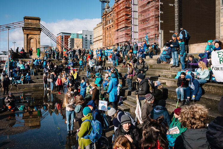 Blue Wave 2020 climate protest held on the steps of the Clyde Amphitheatre in Glasgow