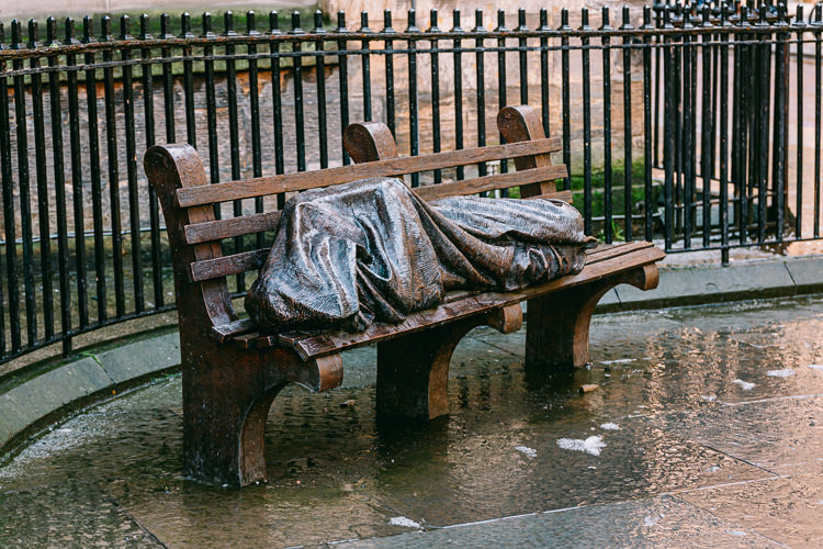 The statue of Homeless Jesus after storm Ciara 2020