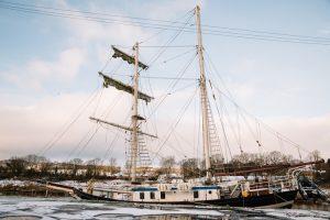 Tall ship La Malouine moored at Kindholm Quay