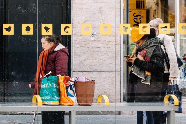 Social distancing at a bus stop