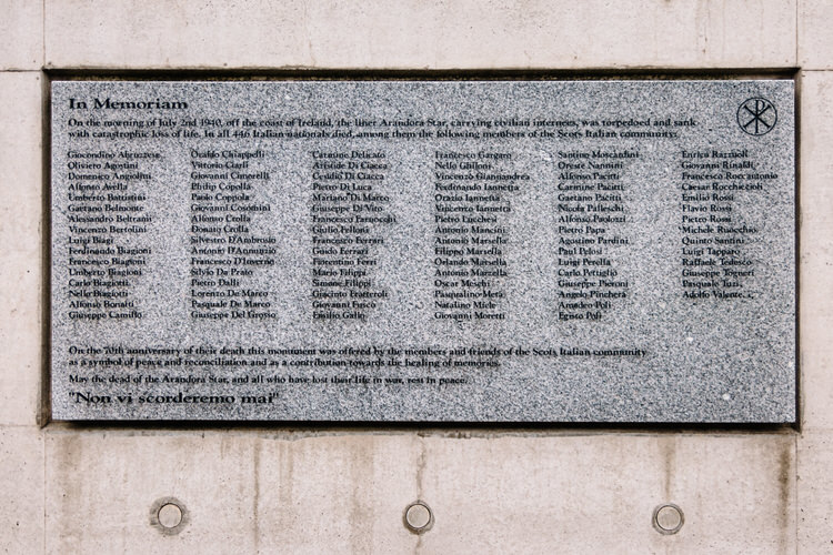 The plaque with the names of the Arandora Star tragedy Scots-Italian victims on the wall of the cloister garden