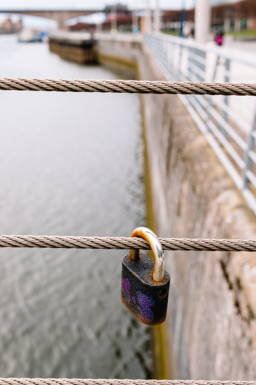 A lonely lock on the Squiggly Bridge