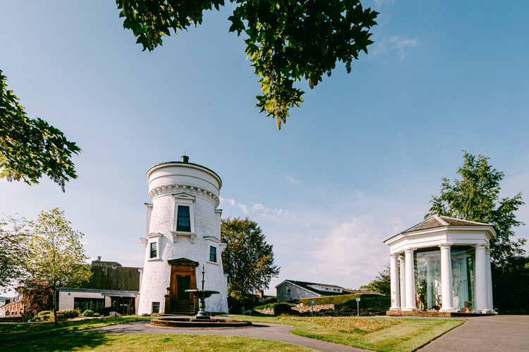 Dumfries Museum and camera Obscura (on the left) and the Sinclair Memorial (on the right)