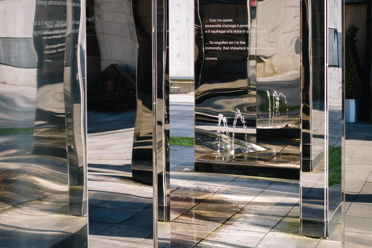 Water feature reflected  in the mirrors