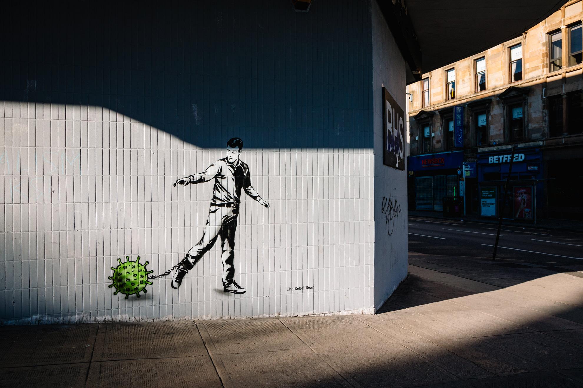 COVID-19 graffiti art by the Revel Bear in Glasgow