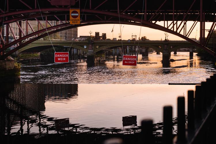 Clyde Tydal Weir in the setting sun