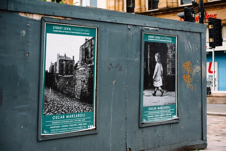 Peeling posters for Oscar Marzaroli's retrospective exhibition at Street Level Photoworks