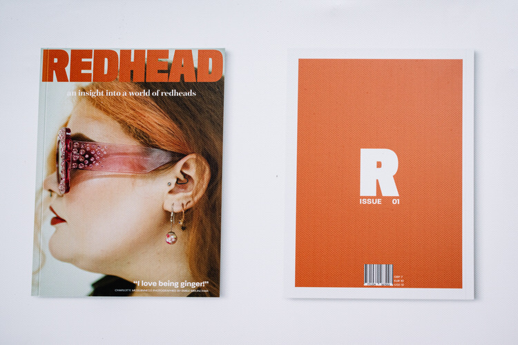 "The front and back page design of Alex Wood's magazine ""Redhead"""