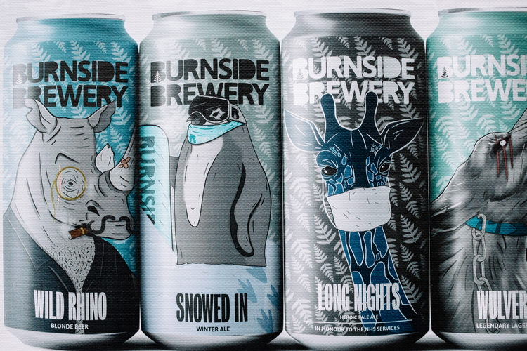 Jonathan Charles' beer can design for Burnside Brewery