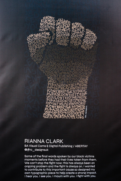 Riana Clark's BLM typographic piece at SHOW UP