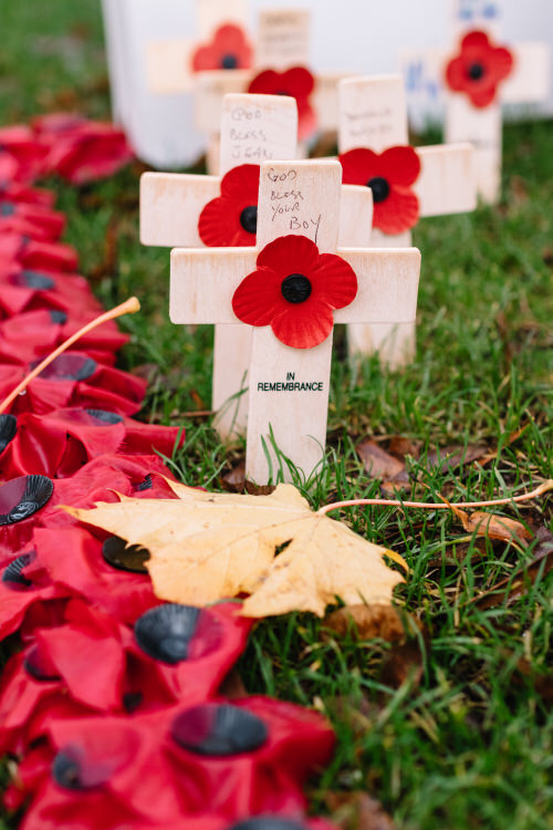 Crosses and poppies with handwritten blessings